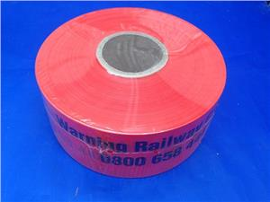 Warning-Tape-WARNING-RAILWAY-CABLE-0800-658-444-Orange/Black-100mm-(roll/500m)-(33219)